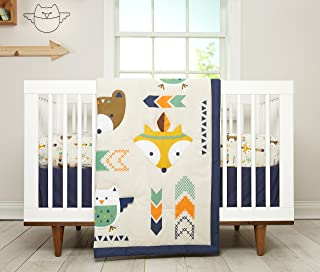 Indian Headdress and Dreamcatcher Baby Boy Quilt and Fitted Sheet Crib Bed Set Baby Boy Crib Set Indian Feather Southwestern Bedding