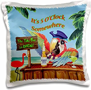 3dRose pc_18918_1 Pirate Parrot in Paradise - Pillow Case, 16 by 16