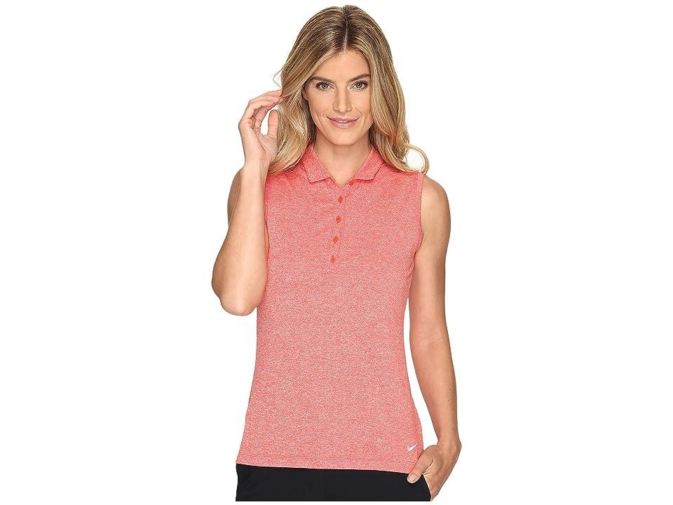 Nike Golf Sleeveless Heather Polo (Max Orange/Heather/White) Women