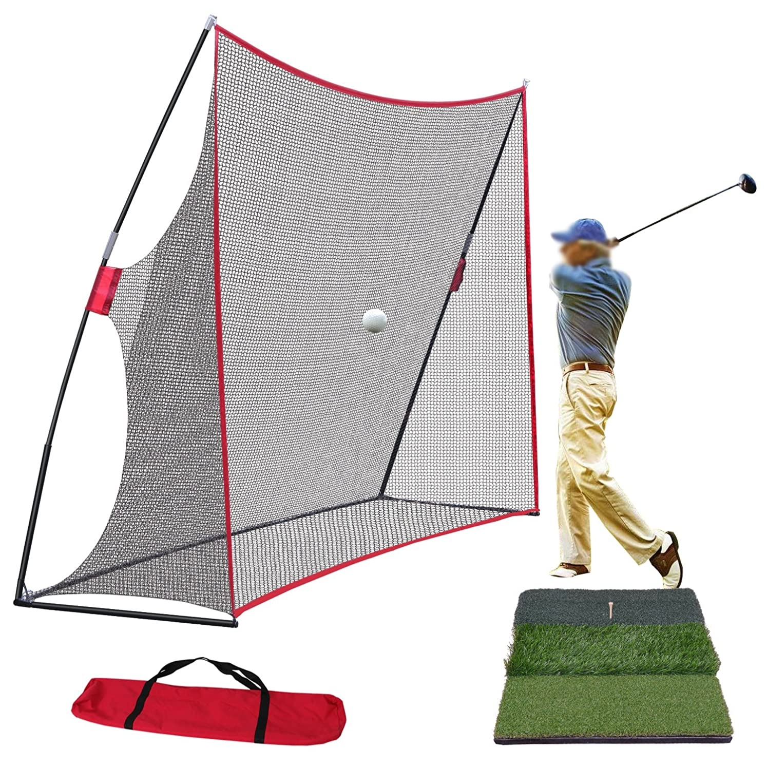 Smartxchoices Golf Net and Mat Bundle - 10x7ft Golf Net with Frame + Tri-Turf Hitting Mat with Carry Bag for Golf Practice Pitching Training Driving Backyard/Indoor/Outdoor cvpgpyhzw9069652