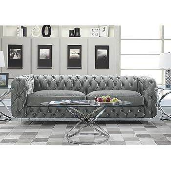 Amazon.com: Iconic Home Modern Contemporary Tufted Velvet Down-Mix Cushons Acrylic Leg Sofa, Grey: Furniture & Decor