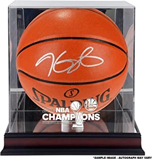 c27ce9cdf4b Kevin Durant Warriors Autographed 2017 NBA Finals Champions Basketball with  a NBA Finals Champs Mahogany Basketball