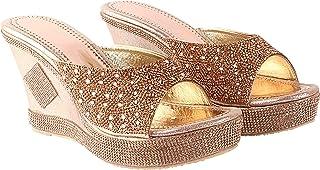 Do Bhai Women Synthtic Material Back Open Wedges Heel Wedding Heel Fashion Sandal (Fancy-071)