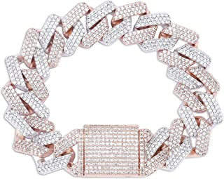 20mm 6 Times 14K Gold Plated Full Iced Out Prong Setting Cubic Zirconia Box Clasp Miami Cuban Link Bracelet for Men Hip Hop