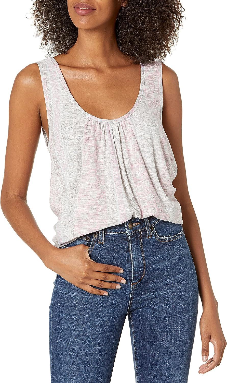 Lucky Brand Women's Sleeveless Scoop Neck Pleated Tank Top