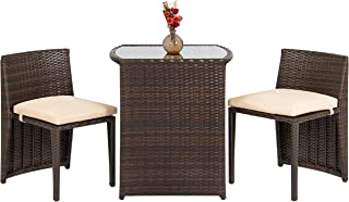 Best Choice Products 3-Piece Patio Wicker Bistro Set for Small Spaces with Glass Top Table and 2 Chairs, Brown