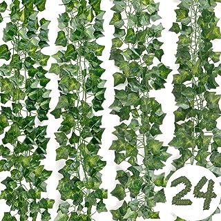 DazSpirit Lierre Guirlande Plantes artificielles 24 pièces Lierre Plante Artificielle, 168 Ft Exterieur Lierre Artificiell...