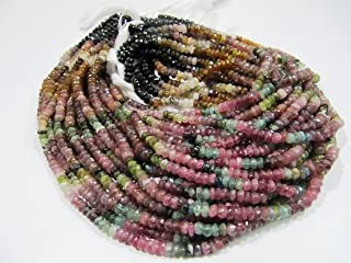 Natural Multi Tourmaline Beads 4-5mm Rondelle faceted Watermelon Tourmaline Strand 13.5 to 14 inches Long
