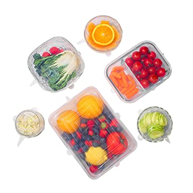 The Absolute Kitchen Premium SQUARE Silicone Stretch Lids, Reusable Silicone Lids Food and Bowl Covers- Ensures Freshness – Expandable For Various Size and Shaped Cups, Anchor, Bowls, Pyrex (6 Square)