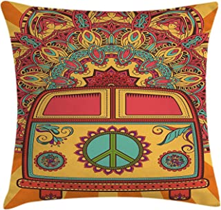 Rdsfhsp 70S Party Hippie Vintage Mini Van Ornamental Backdrop Peace Sign Cushion Throw Pillow Cover/Case For Decorating Sofa Car Bedroom Etc Or Gifts Cotton 16x16 In