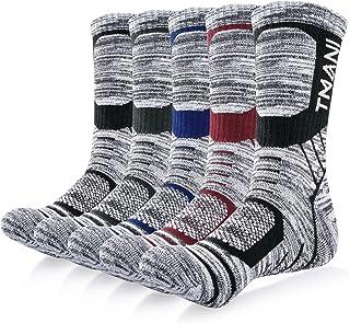 Benirap Mens Thermal Socks, 5 Pairs Cushion Trainer Socks Walking Socks for Women, Wicking Athletic Sports Crew Socks Mult...