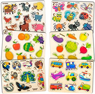 Wooden Toddler Puzzles Toys for 1 2 3 Year Old Boy and Girl -6 Pack by Quokka - Childrens Wood Educational Games for Learning Cars Farm Animals Birds Bugs Fruits Insects for Babies and Kids Ages 1-3