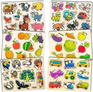 Quokka Puzzle Enfant en Bois 1 2 3 Ans, Jeux Educatif 3 Ans pour Garçons Filles (6 Pièces ), Jouet Bebe et Cadeau Enfant 2...