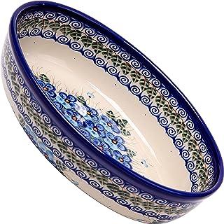 Polish Pottery Ceramika Boleslawiec, 1210/162, Oval Mirek Baker 2, 9 2/3 by 6 7/10 Inches - 5 Cups, Royal Blue Patterns wi...