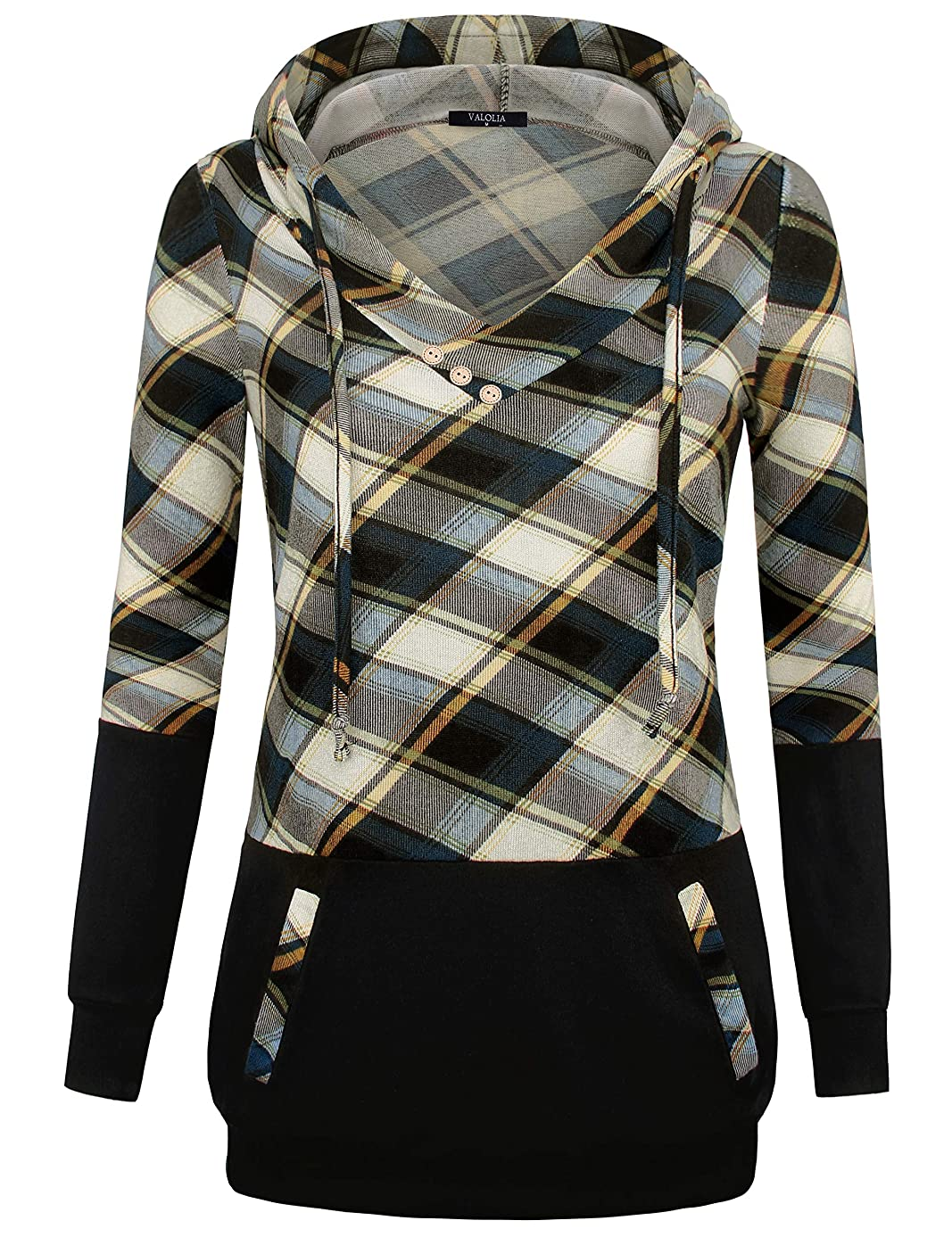 VALOLIA Women's Long Sleeve Plaid Pullover Color Block Hooded Sweatshirt with Kangaroo Pockets