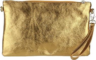 Girly Handbags Echte italienische Metallisch-Leder-Handtasche