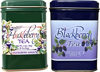 Huckleberry and Wild Blackberry Flavor Ceylon Black Tea 40 Count Pack of two Natural Wild Berry Tea Bags