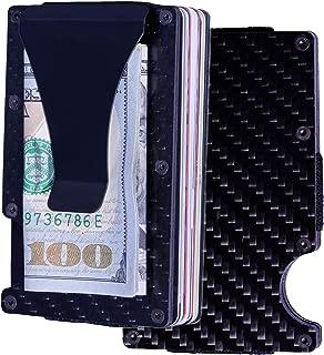 Carbon Fiber Minimalist Wallet, Credit Card Holder RFID Blocking Anti Scan Metal Money Clip, Front Pocket Slim Black Mini Wallets for Men with Cash Clip Travel Hiking Everyday Use Light