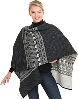 Norwegian Womens 100% Merino Wool Wrap Cape Shawl Poncho Sweater Coat