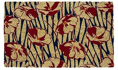Entryways Victoria and Albert Museum Poppy Field Coir Doormat, Natural, 45 x 75