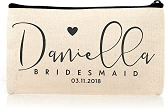 Personalized Cosmetic Bag Travel Makeup Pouch Wedding Bridal Party   DSG#10   set of 6