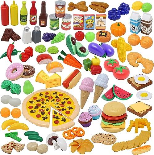 135pcs Corte de Frutas y Alimentos Verduras Pizza Juego de Plástico para Niños 3 Años, Accesorios de Cocina Set de Al...