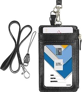 Porte-badge avec fermeture Éclair, Wisdompro 2 Côtés imitation cuir Porte-badge avec 1 fenêtre pour carte d'identité, 4 em...