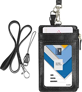 Badge Holder with Zipper, Wisdompro 2-Sided PU Leather ID Badge Holder with 1 ID Window, 4 Card Holder Slots, 1 Side Pocket and 1 Piece 20 Inch Leather Neck Strap Lanyard - Vertical Black