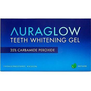 AuraGlow Teeth Whitening Gel Syringe Refill Pack, 35% Carbamide Peroxide, (3) 5ml Syringes