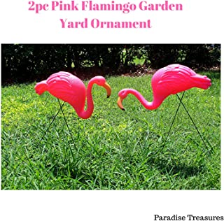 Paradise Treasures Bright Pink Flamingo Garden Yard with Stake Ornament (2pack)