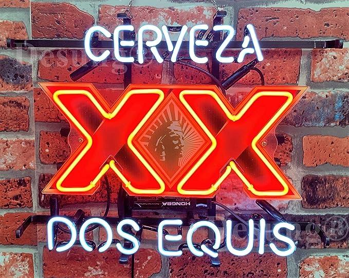 "Dos Equis XX Cerveza Beer Neon Lamp Sign 17/""x14/"" Bar Light Glass Artwork Decor"