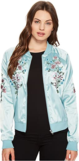 Flower Embroidered Varsity Jacket