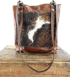 Brindle Cowhide Leather Tote Bag Brown & White