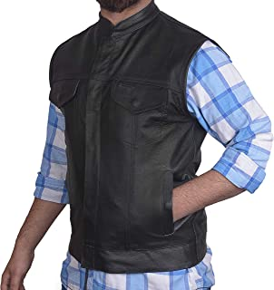 Men's SOA Motorcycle Genuine Cowhide Leather Club Style Vest with Concealed Gun Pockets New (5XL)