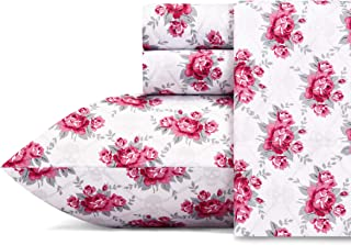 Betsey Johnson Performance Collection Bed Sheet Set - Lightweight, Breathable, Temperature Regulating Fabric. Super Soft, Easy Care Seasons, Queen, Skull Rose Trellis