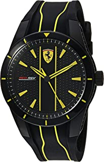 Ferrari Men's Red Rev Stainless Steel Quartz Watch with Silicone Strap, Black, 20 (Model: 0830482)