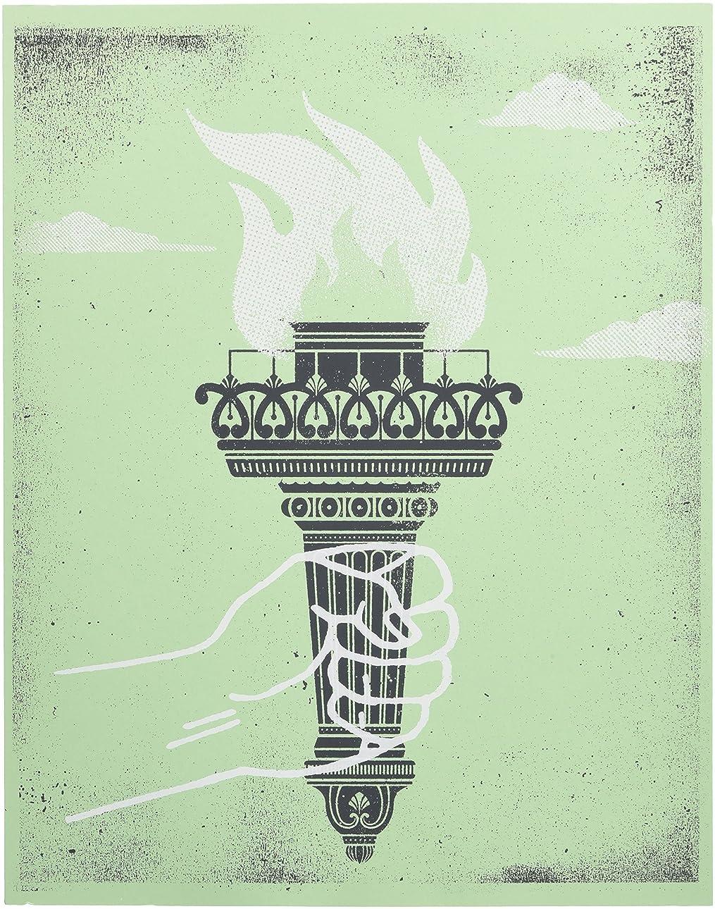 ショートパッチ乳白色アメリカ ブルックリン発 TWO ARMS (トゥーアームズ) おしゃれ インテリア アートプリントポスター シルクスクリーン Mサイズ Liberty Torch ????????
