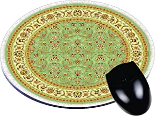 Ivory and Green Persian Oriental Rug- Round Mouse pad - Stylish, Durable Office Accessory Made in The USA