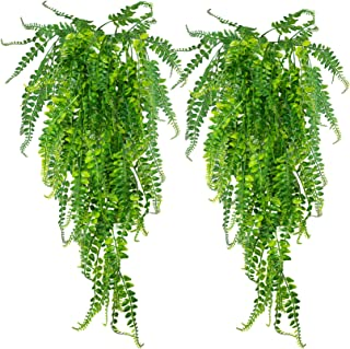 Huryfox 2 Pack Artificial Hanging Vines for Home Décor Fake Plants Faux Greenery Ivy Garland