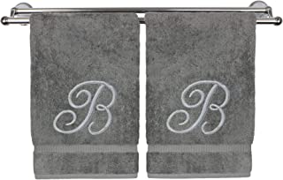 Monogrammed Hand Towel, Personalized Gift, 16 x 30 Inches - Set of 2 - Silver Embroidered Towel - Extra Absorbent 100% Turkish Cotton- Soft Terry Finish - for Bathroom, Kitchen and Spa- Script B Gray