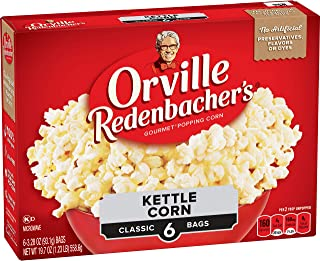 Orville Redenbacher's Kettle Corn Microwave Popcorn, (6 Count of 3.28 oz Bags) 19.7 oz, Pack of 6