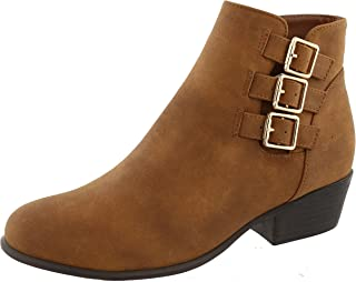 TOP Moda Women's Closed Toe Strappy Buckle Chunky Stacked Heel Ankle Bootie (9 B(M) US, Tan)