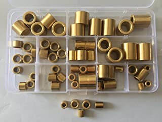 65pcs 4mm-12mm Inner Diameter Brass Sleeves Powder Metallurgy Oil Bearing Copper Sleeve 8mm-20mm Length Assortment set