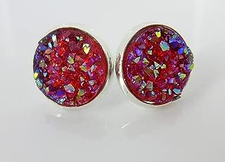 Silver-tone Raspberry Faux Druzy Stone Stud Earrings 12mm