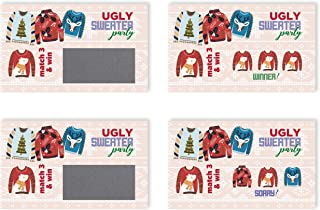 My Scratch Offs Ugly Sweater Christmas Holiday Scratch Off Game Cards - 2 x 3.5 Inches - 25 Pack