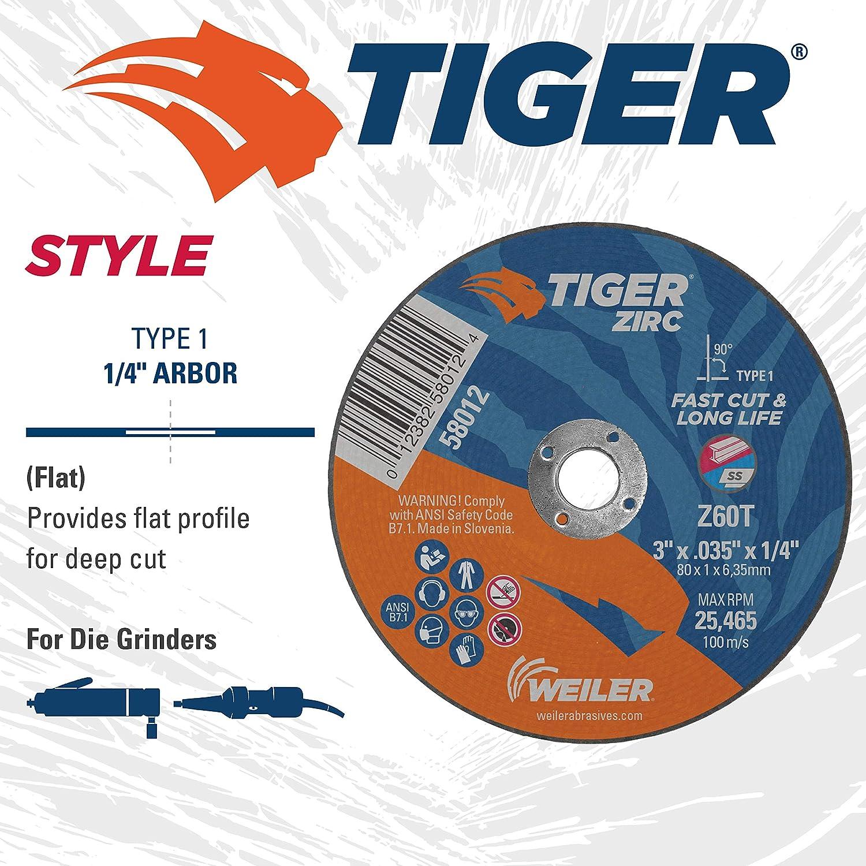 Weiler 58012 3 x .035 Tiger Zirc Type 1 Cutting Wheel Pack of 100 Z60T 1//4 A.H.