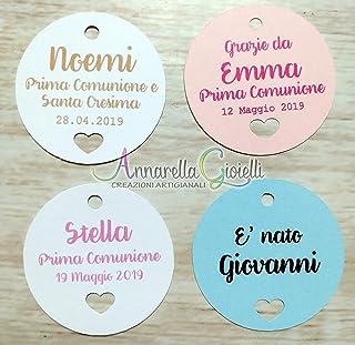Cartellini tondo cuore per bomboniera personalizzati, varie misure, vari colori, a partire da 20 pezzi, matrimonio, tondo,...