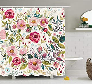 Ambesonne Floral Shower Curtain by, Shabby Chic Flowers Roses Pedals Dots Leaves Buds Spring Season Theme Image Artwork, Fabric Bathroom Decor Set with Hooks, 75 Inches Long, Multicolor