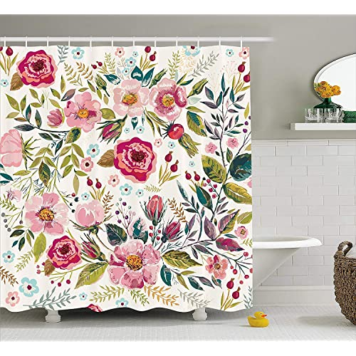 Ambesonne Floral Shower Curtain By Shabby Chic Flowers Roses Pedals Dots Leaves Buds Spring Season