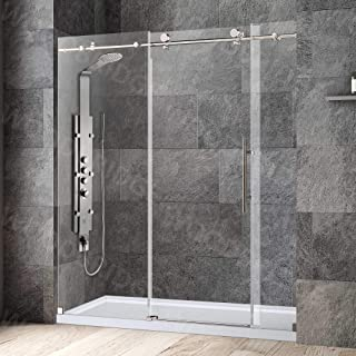 """WOODBRIDGE MBSDC7276-B Frameless Shower Doors 68-72"""" Width x 76"""" Height with 3/8""""(10mm) Clear Tempered Glass in Brushed Ni..."""